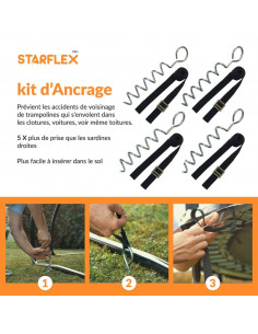 Kit 4 ancrages pour trampoline ( forme spirale )