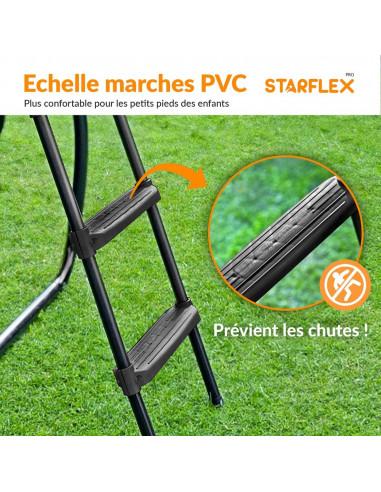 Echelle universelle noire pour trampoline (Marches PVC larges - Hauteur variable 65~100cm )