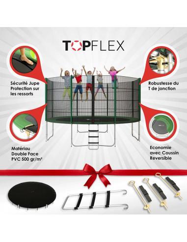 Trampoline 430 cm TopFlex + Echelle + Bâche + Kit d'Ancrage