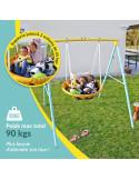 Balancoire Enfant - Portique Balancoire nid d oiseau - 2 Enfants à la fois - Poids Max 90 kgs - Idéal petits jardins